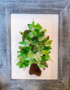 Framed Christmas tree made of seaglass
